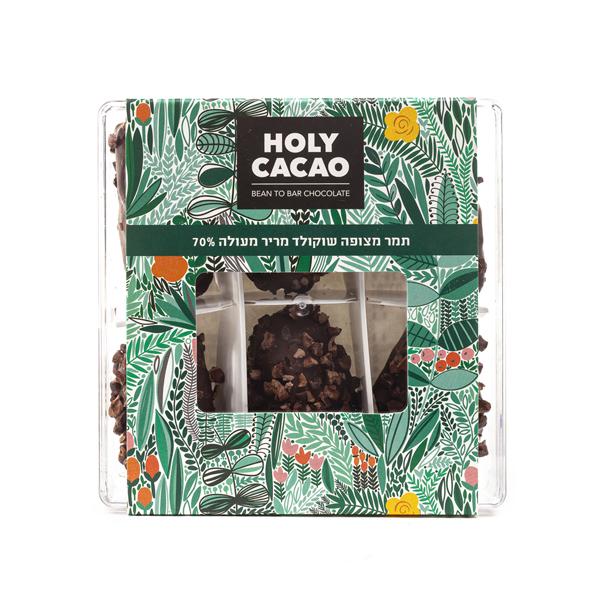 מארז תמרים מצופים שוקולד מריר 70%
