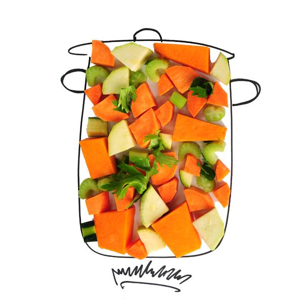 לקט ירקות חתוכים למרק