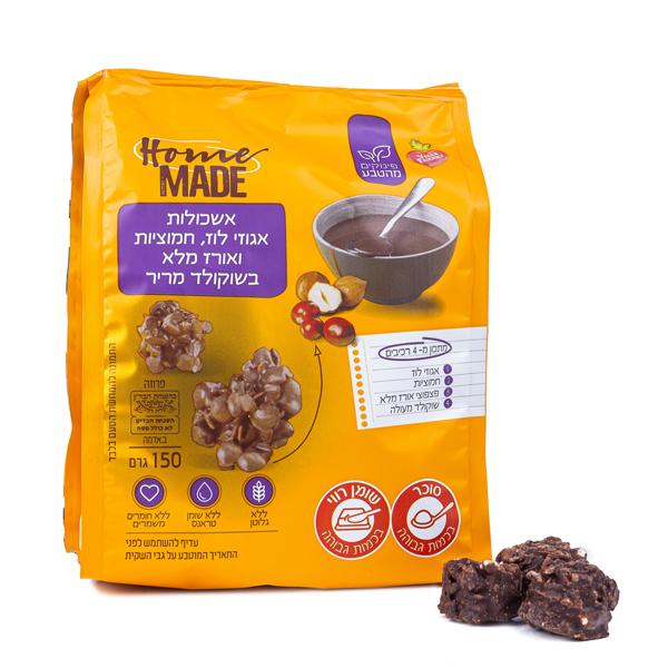 אשכולות אגוזי לוז, חמוציות ואורז מלא בשוקולד מריר